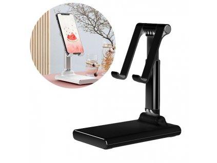 Teleskopický / nastavitelný stolní držák na tablet / mobilní telefon černý