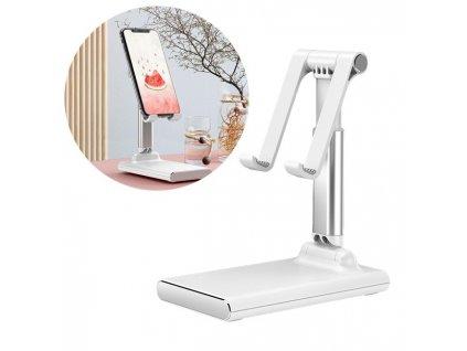 Teleskopický / nastavitelný stolní držák na tablet / mobilní telefon bílý
