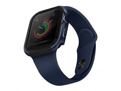 UNIQ Valencia pouzdro / kryt k Apple Watch 4/5/6/SE 44mm modrý