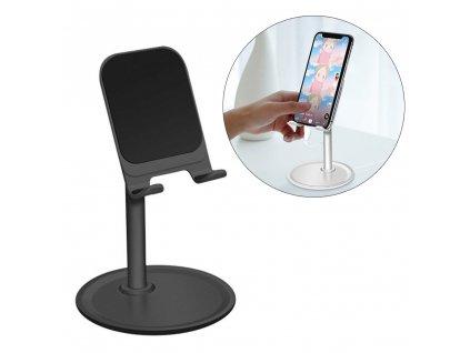 Stolní držák na tablet / mobilní telefon černý / výsuvný