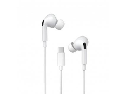 WK Design Y31 stereo sluchátka s mikrofonem a ovladačem USB-C / bílé