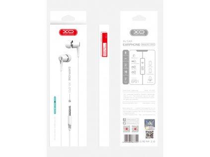 XO EP21 handsfree sluchátka s kabelem a ovladačem 3,5mm jack - bílé