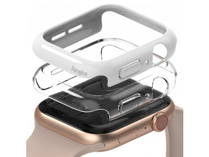 Ringke Slim Watch Case (2ks) pouzdro / kryt k Apple Watch 4/5/6/SE 44mm clear + bílá