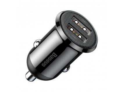 Baseus Grain PRO nabíječka do auta 2 x USB 4,8A černá CCALLP-01