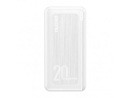 Dudao K12PQ+ PowerBanka 2xUSB + USB-C PD 20W / QC 3.0 20000mAh bílá