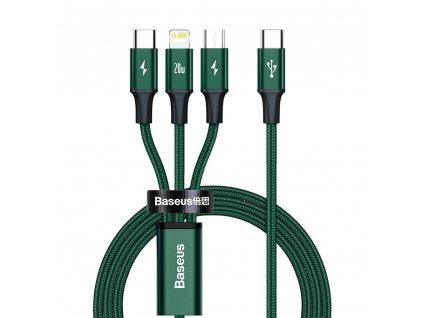 Baseus CAMLT-SC06 USB-C PD  kabel 3v1 Micro USB / USB-C / Apple Lightning 1,5m / 20W green