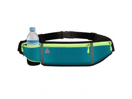 Sportovní pouzdro - ledvinka na běhání s prostupem na sluchátka / 4x kapsa / modrá