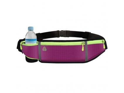 Sportovní pouzdro - ledvinka na běhání s prostupem na sluchátka / 4x kapsa / fialová