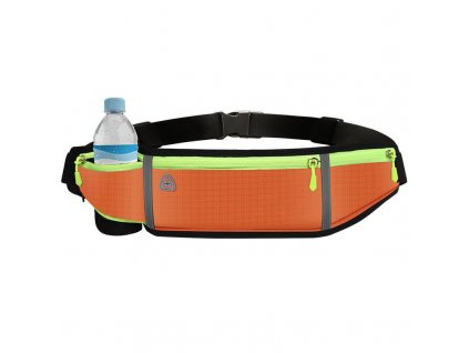 Sportovní pouzdro - ledvinka na běhání s prostupem na sluchátka / 4x kapsa / oranžová