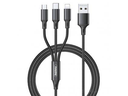 REMAX RC-189th USB kabel 3v1 Micro USB / USB-C / Lightning 3,1A / 1,2m - černý