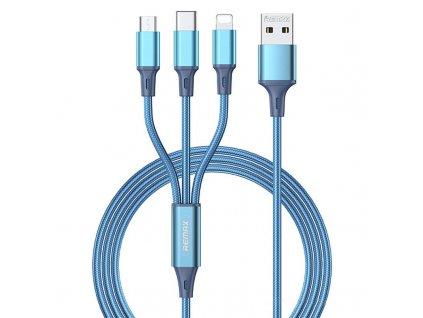 REMAX RC-189th USB kabel 3v1 Micro USB / USB-C / Lightning 3,1A / 1,2m - modrý