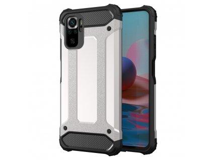Hybrid Armor Case odolné pouzdro pro Xiaomi RedMi NOTE 10 PRO stříbrné