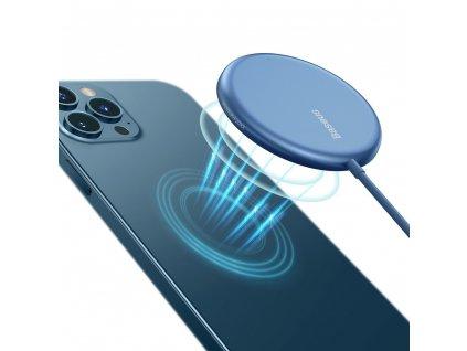 Baseus WXJK-H03 bezdrátová nabíječka 15W / Qi / MagSafe modrá