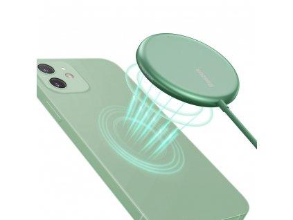 Baseus WXJK-H06 bezdrátová nabíječka 15W / Qi / MagSafe zelená