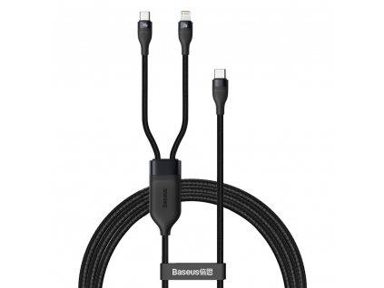 Baseus Flash 2v1 kabel USB-C PD / USB-C PD + iPhone Lightning 1,2m / 100W / černý