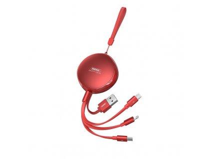 REMAX RC-185th navíjecí USB kabel 3v1 Micro USB / USB-C / Lightning 2,1A / 1m - červený