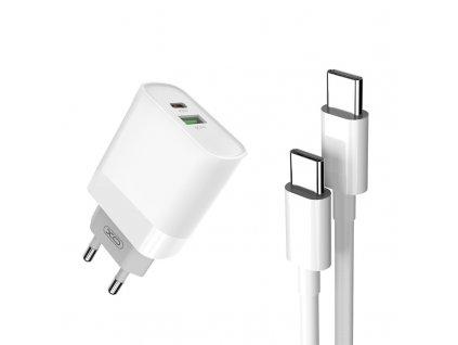 XO L64 nabíječka s výstupem USB QC 3.0 / USB-C PD / 18W bílá + kabel USB-C PD