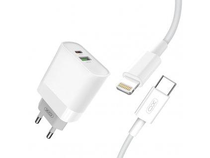 XO L64 nabíječka s výstupem USB QC 3.0 / USB-C PD / 18W bílá + kabel iPhone PD