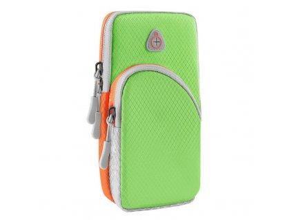 Twin sportovní pouzdro na rameno s prostupem na sluchátka / 2x kapsa zelené