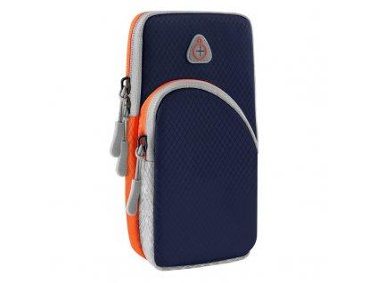 Twin sportovní pouzdro na rameno s prostupem na sluchátka / 2x kapsa tmavě modré
