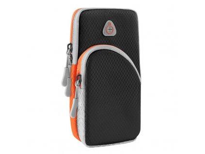 Twin sportovní pouzdro na rameno s prostupem na sluchátka / 2x kapsa tmavě černé