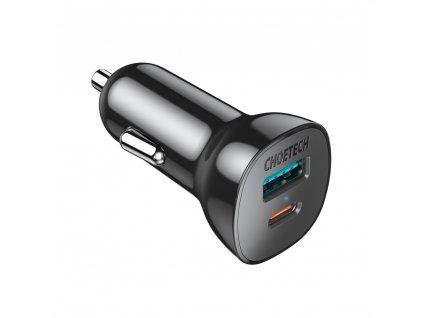 Choetech TC0005 nabíječka do auta USB / USB-C PD / 36W / 3A / QC 3.0 černá