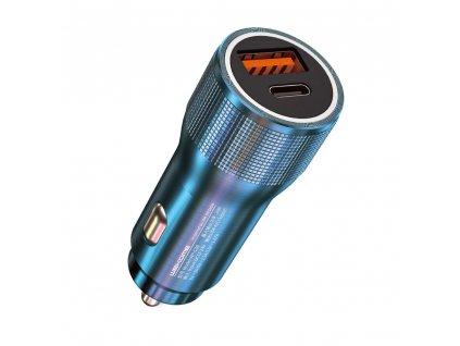 WK Design WP-C30 nabíječka do auta USB + USB-C PD / 20W modrá