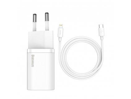 Baseus nabíječka TZCCSUP-B02 USB-C PD / + kabel iPhone Lightning 20W / 1m / white