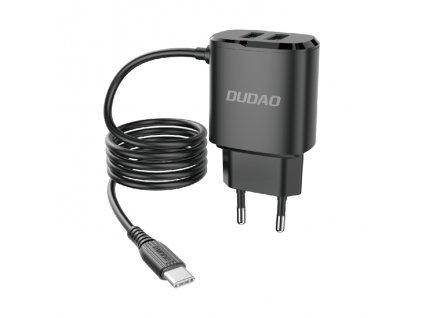 Dudao A2ProT nabíječka do sítě 2x USB / 12W / 5V / 2,4A + kabel USB-C černá