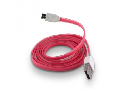 Micro USB datový kabel, plochý pink / růžový  (silikon)