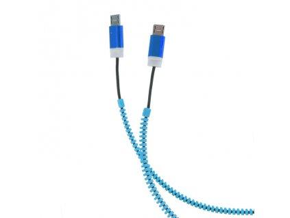 ZIPPER 2 x Micro USB, USB 2.0 datový kabel, blue / modrý