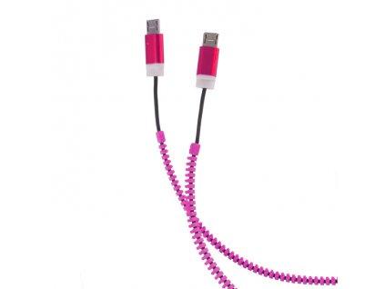 ZIPPER 2 x Micro USB, USB 2.0 datový kabel, pink / růžový