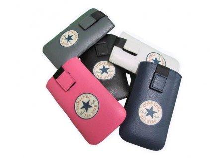 Converse All Star, kožené pouzdro pro iPhone 5 / 5S / SE white / bílé