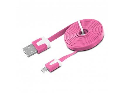 Micro USB datový kabel, plochý pink / růžový