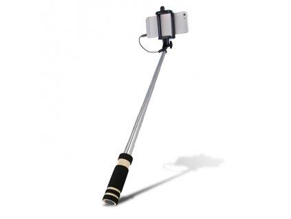 Selfie tyč Setty s kabelem black / černá