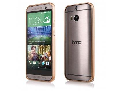 Pouzdro Bumper ALU METAL hliníkový rámeček HTC ONE M8 zlatý