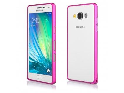 Pouzdro Bumper ALU METAL hliníkový rámeček Samsung A500 Galaxy A5 růžový