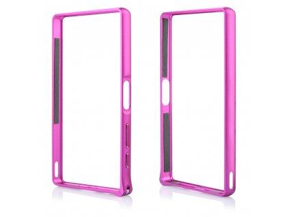 Pouzdro Bumper ALU METAL hliníkový rámeček Sony Z5 Premium, E6853 růžový