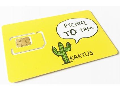 Sim karta KAKTUS (T-Mobile) - kredit 100Kč / 500Mb dat + 500Mb na sociální sítě