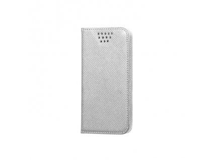 """Smart Book pouzdro univerzální pro telefony 5,5"""" - 5,7"""" stříbrné (MAG EDITION)"""