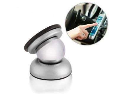 Rotable 360 držák do auta - magnetický stříbrný
