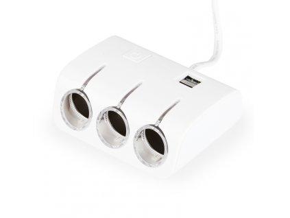 Rozbočka autozásuvky s kabelem, 3 výstupy + 2x USB (60W) bílá