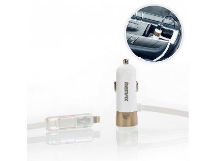 REMAX nabíječka do auta 2 v 1 Micro USB / Apple Lightning (3,4A) zlatá