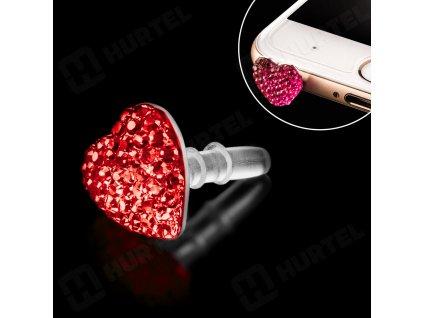 Krytka 3,5mm konektoru sluchátek,  zircon heart - červená