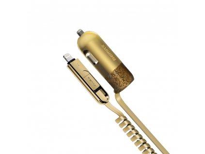 REMAX Finchy RCC-103 nabíječka do auta 2 v 1 Micro USB / Lightning (3,4A) Zlatá