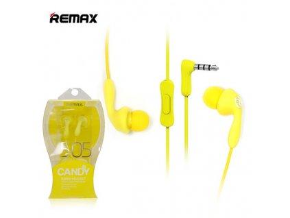 Remax RM-505 handsfree sluchátka iOS / Android - univerzální 3,5mm jack žluté