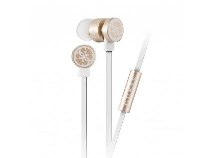 Guess GUEPWIGO stereo headset sluchátka 3,5mm jack bílá/zlatá