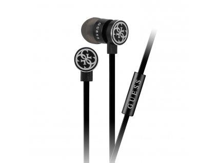 Guess GUEPWIBK stereo headset sluchátka 3,5mm jack stříbrná/černá