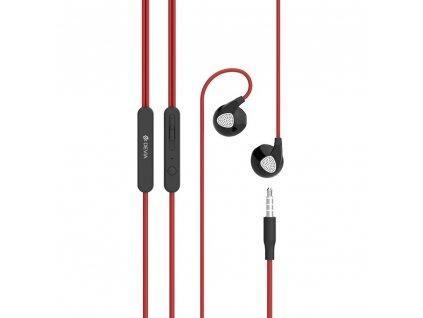 Devia EarPods sluchátka s ovládáním iPhone 5/5C/5S, 6/6S, 6+/6S+ červené