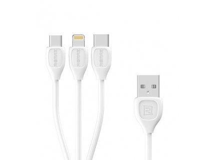 REMAX RC-050th datový kabel 3v1 Micro USB / Micro USB-C / Lightning - bílý